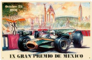 Mexican Grand Prix 1970 rusted metal sign (pst 1812)